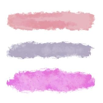 Collection de coups de pinceau grunge dans des couleurs pastel