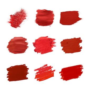 Collection de coups de pinceau rouges