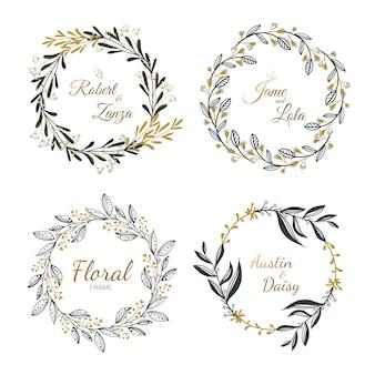 Collection de couronne florale dessinés à la main pour mariage, épouser la carte.