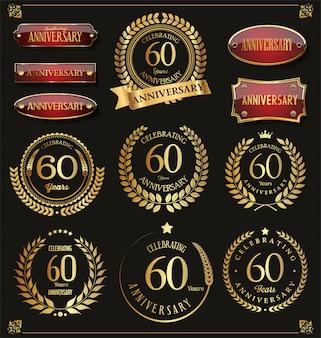 Collection de couronne de laurier rétro anniversaire