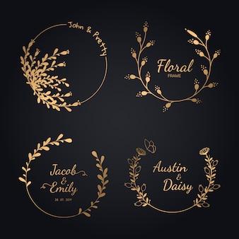 Collection de couronne de mariage dessinés à la main pour mariage.