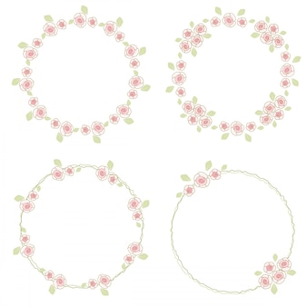 Collection de couronne de roses doodle saint valentin