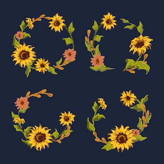 Collection de couronne de tournesol