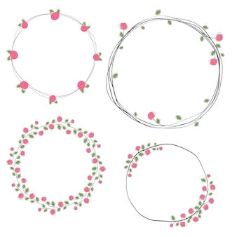 Collection de couronne valentine doodle roses