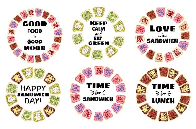 Collection de couronnes d'affiches sandwich. affiche saine de sandwichs au pain grillé. petit-déjeuner ou déjeuner végétalien. stock de collation végétarienne imprimer