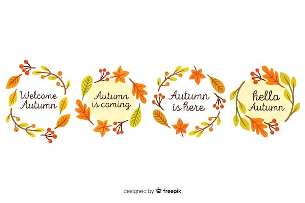 Collection de couronnes d'automne dessinés à la main