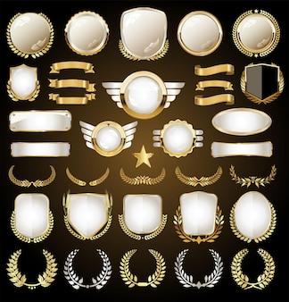 Collection de couronnes et de badges de vecteur de boucliers dorés médiévaux