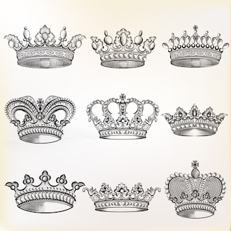 Collection de couronnes esquissés