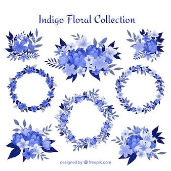 Collection de couronnes de fleurs et des détails de fleurs en bleu