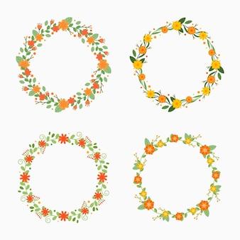Collection de couronnes de fleurs plates