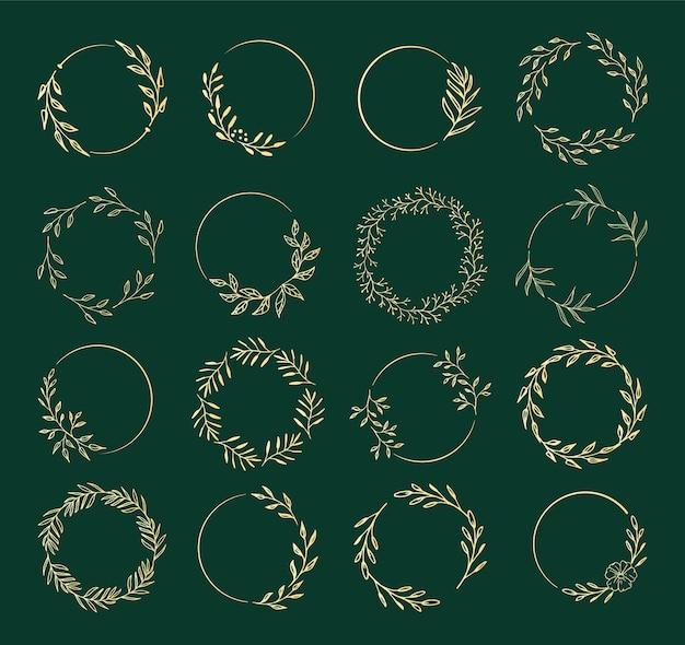 Une collection de couronnes de fleurs pour les invitations de mariage ou la décoration de vacances.