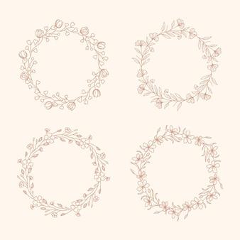 Collection de couronnes florales dessinées à la main