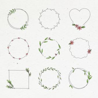 Collection de couronnes florales doodle