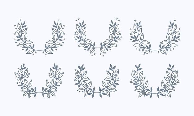 Collection de couronnes florales de feuilles bleues dessinées à la main