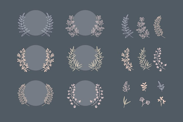 Collection de couronnes de laurier botanique