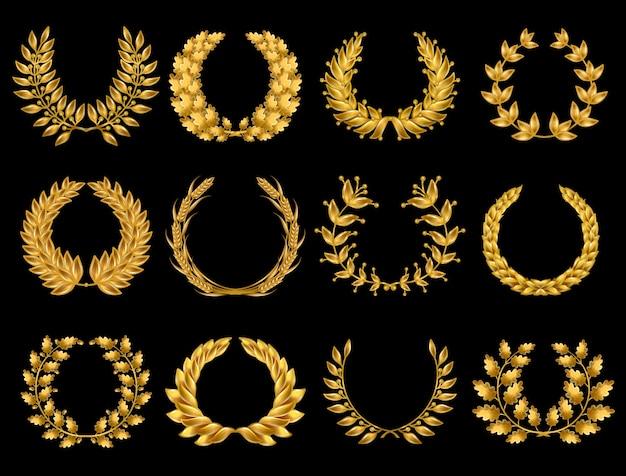 Collection de couronnes d'or florales