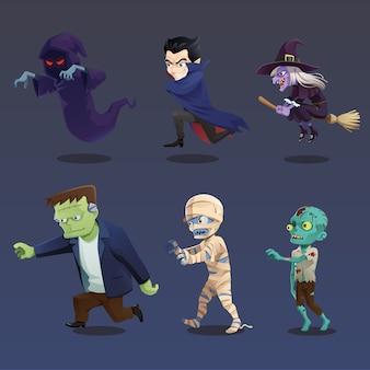 Collection de course de monstres d'halloween
