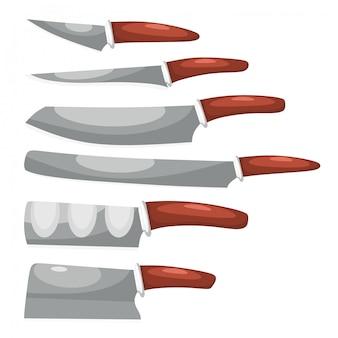 Collection de couteaux sur blanc