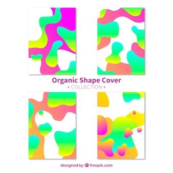 Collection de couverture colorée avec des formes de bulles