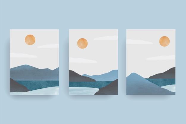 Collection de couverture de paysage abstrait aquarelle peinte à la main