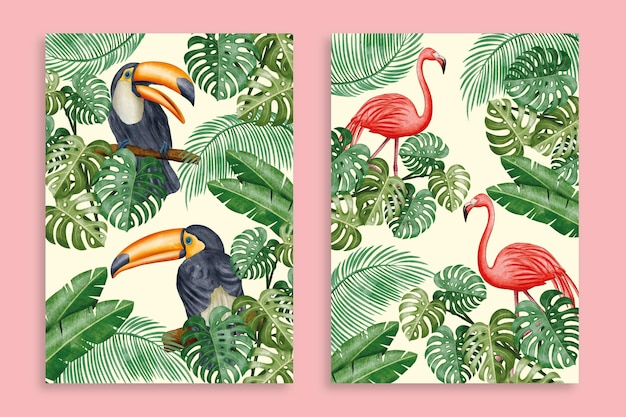 Collection de couvertures d'animaux sauvages aquarelle peinte à la main