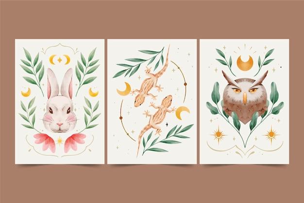 Collection de couvertures d'animaux sauvages aquarelles peintes à la main