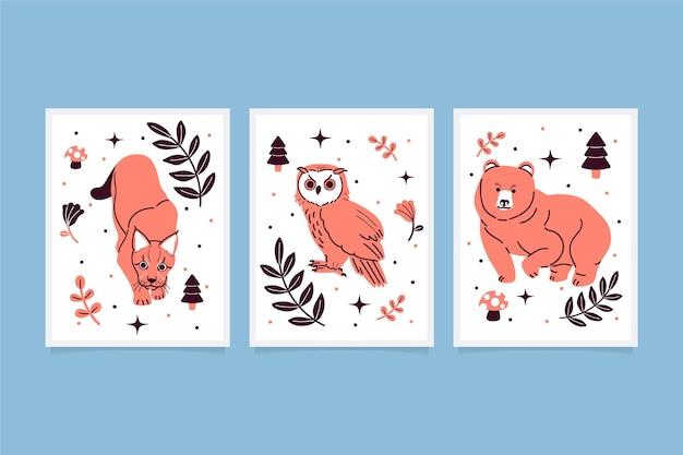 Collection de couvertures d'animaux sauvages dessinés à la main