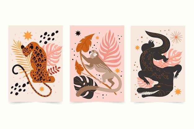 Collection de couvertures d'animaux sauvages plats