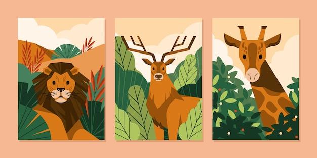 Collection de couvertures d'animaux sauvages