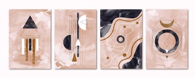 Collection de couvertures à l'aquarelle avec des éléments dorés