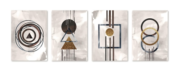 Collection de couvertures d'art abstrait aquarelle peinte à la main