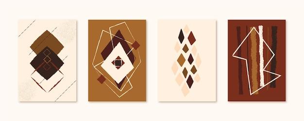 Collection de couvertures d'art abstrait dessiné à la main