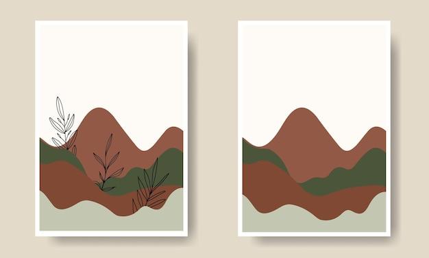 Collection de couvertures d'art mural en forme de paysage simple
