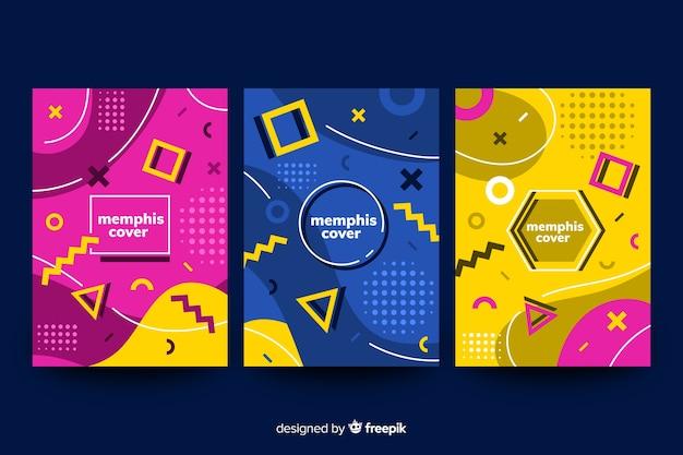 Collection de couvertures colorées memphis