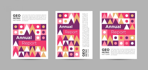 Collection de couvertures colorées de rapports annuels