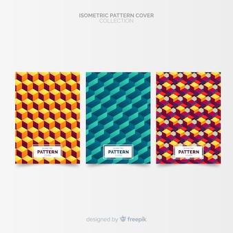 Collection de couvertures colorées de style isométrique