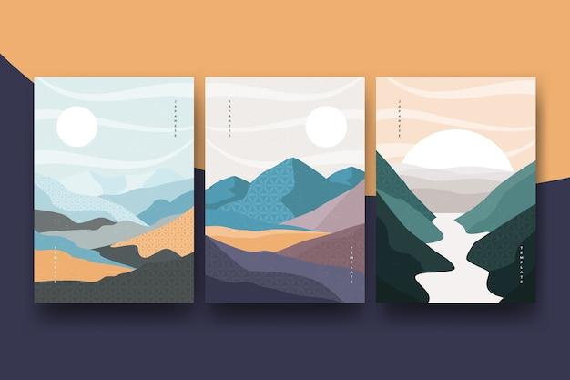 Collection de couvertures avec concept japonais minimaliste