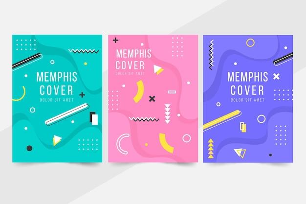 Collection de couvertures de conception de formes géométriques memphis