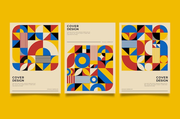 Collection de couvertures de conception graphique dans le style baugaus