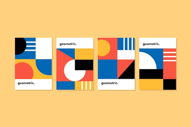 Collection de couvertures de conception graphique dans le style bauhaus