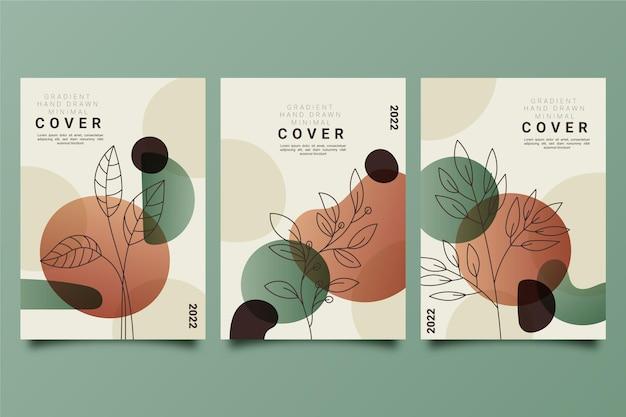 Collection de couvertures dégradées minimales dessinées à la main