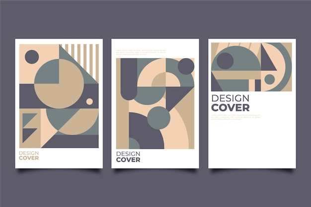 Collection de couvertures design graphique de style bauhaus
