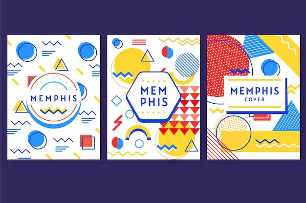 Collection de couvertures design memphis colorées