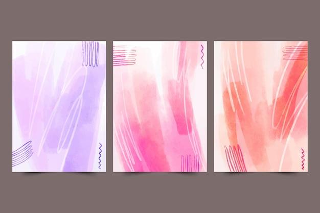 Collection de couvertures dessinées à la main abstraite aquarelle