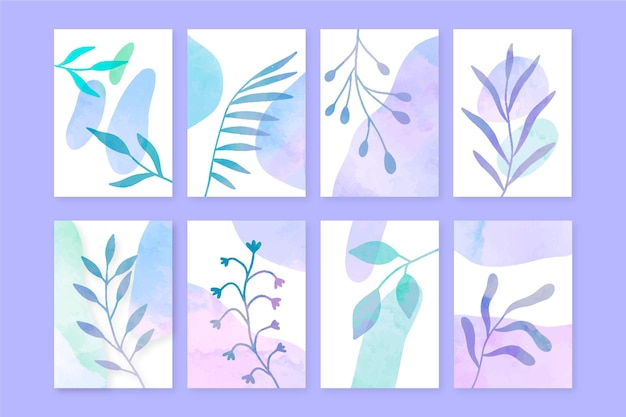 Collection de couvertures dessinées à la main à l'aquarelle peinte à la main