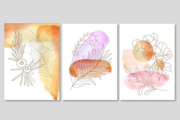 Collection de couvertures dessinées à la main à l'aquarelle