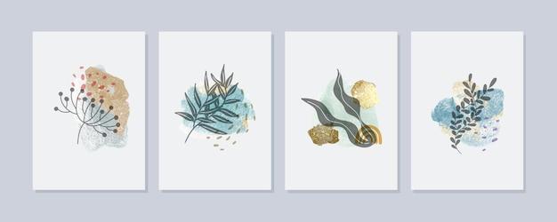 Collection de couvertures dessinées à la main minimale aquarelle peinte à la main