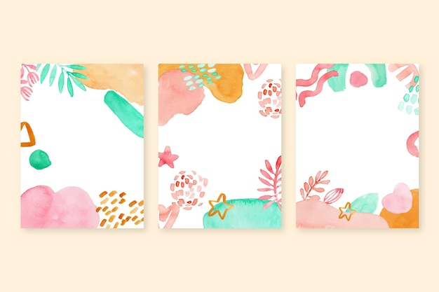 Collection de couvertures de formes abstraites à l'aquarelle
