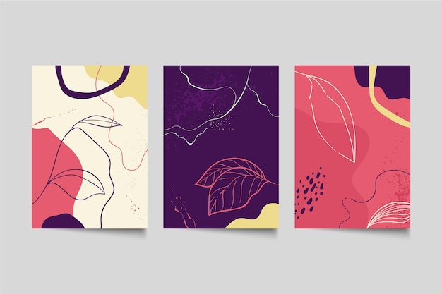 Collection de couvertures de formes abstraites dessinées à la main