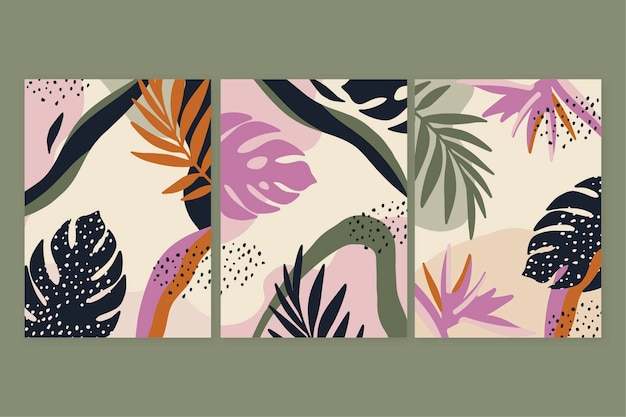 Collection de couvertures de formes abstraites plates dessinées à la main